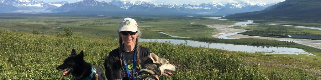 Carol, Breeze, and Bonsai in the upper Susitna River Valley